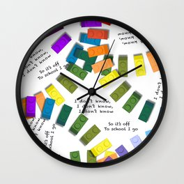 Off to school I go - with my colorful building blocks Wall Clock
