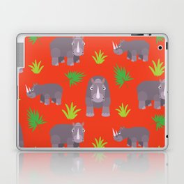 Happy hippo red background Laptop & iPad Skin