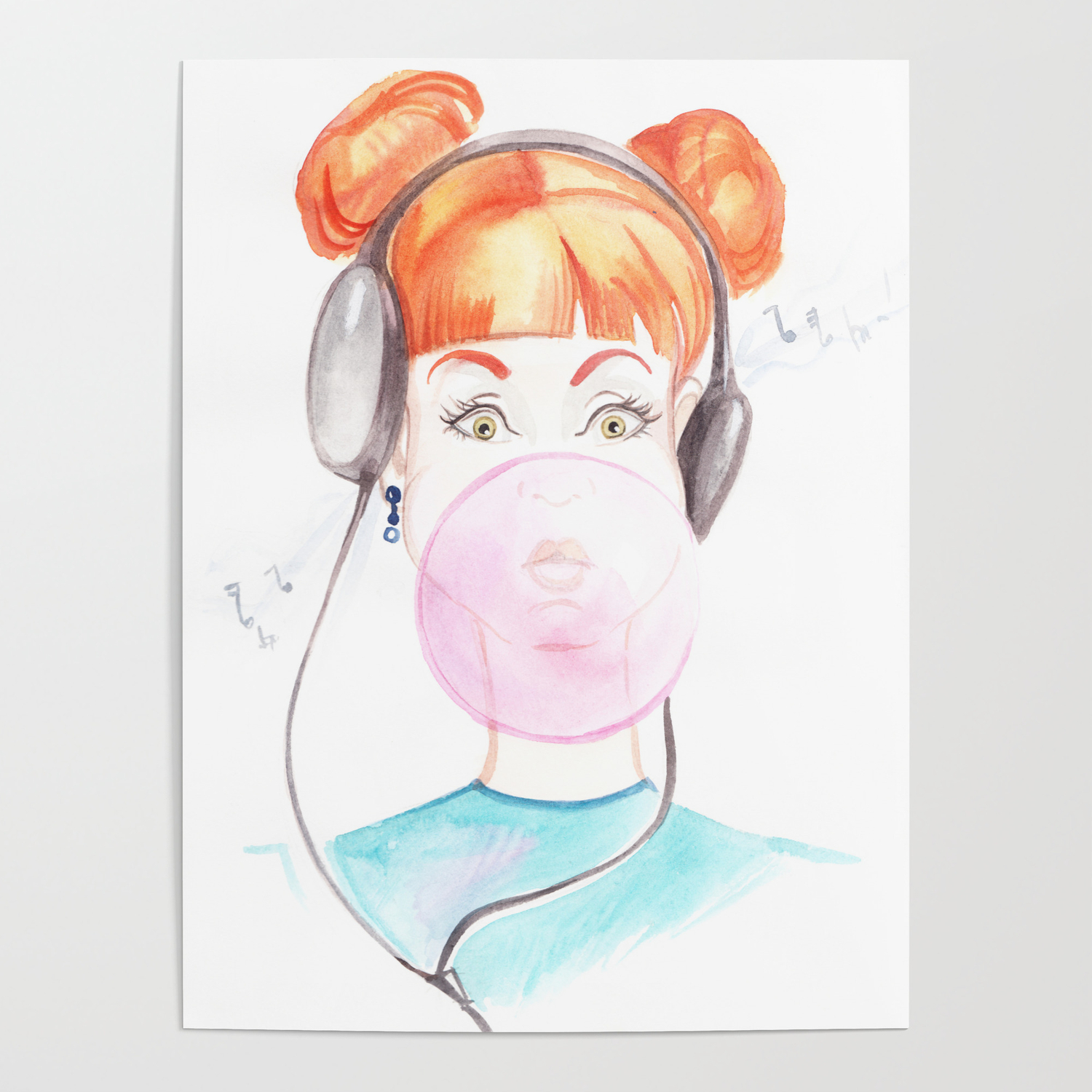 Drawing of a girl with chewing gum and music headphones poster