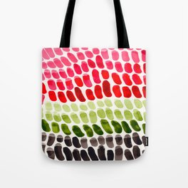 Colorful Rainbow Aquatic Watercolor Pattern Fish Scales Pattern Cactus Green Watermelon Red Tote Bag