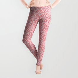 Moroccan Tile Pattern, Coral Pink and White Leggings