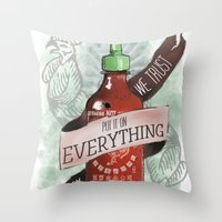 sriracha Throw Pillows featuring An Ode To Sriracha by Drunk Girl Designs