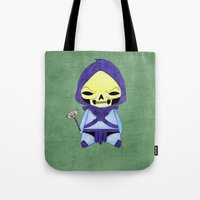 skeletor Tote Bags featuring A Boy - Skeletor by Christophe Chiozzi