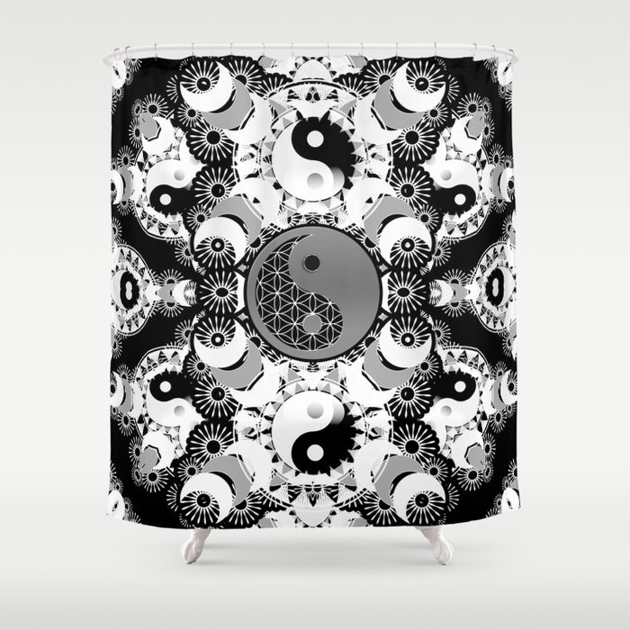 YinYang Sacred Geometry Totem Shower Curtain