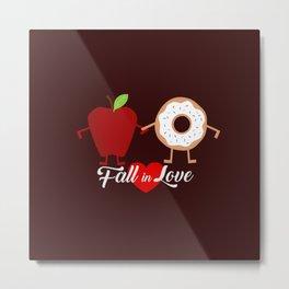 Fall in Love Apple Donuts Metal Print