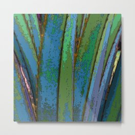 Blue Abstract Screw Pine Metal Print