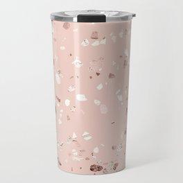 Blush Pink + Rose Gold Terrazzo Travel Mug
