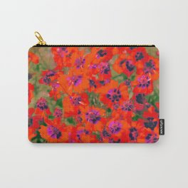 blooming red flower with green leaf background Carry-All Pouch