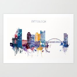 Watercolor cityscape of Pittsburgh Art Print