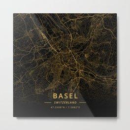 Basel, Switzerland - Gold Metal Print