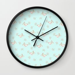 Christmas birds - Bird pattern on turquoise background Wall Clock