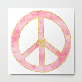 Pink Gold Peace Sign with Heart Metal Print