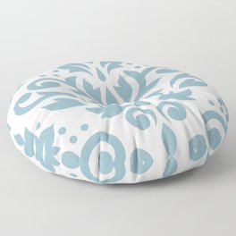 Scroll Damask Large Pattern Blue on Cream Floor Pillow
