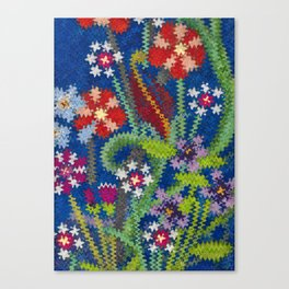 Starry Floral Felted Wool, Blue Canvas Print