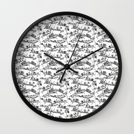 Black and White Angled City Line Drawing Abstract Illustration Wall Clock