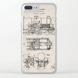 Steam Train Patent - Steam Locomotive Art - Antique Clear iPhone Case