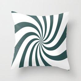Spiral (Jungle Green & White Pattern) Throw Pillow