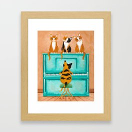 Piano Cats Framed Art Print