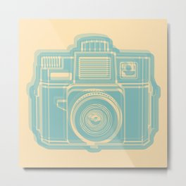 I Still Shoot Film Holga Logo - Reversed Turquoise/Tan Metal Print
