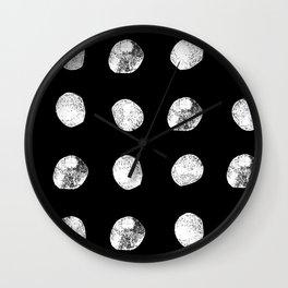 Linocut minimal black and white dots pattern minimalist texture basic art Wall Clock