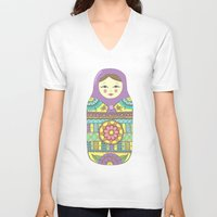 russian V-neck T-shirts featuring Russian Doll by haleyivers