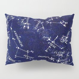 French October Star Map in Deep Navy & Black, Astronomy, Constellation, Celestial Pillow Sham