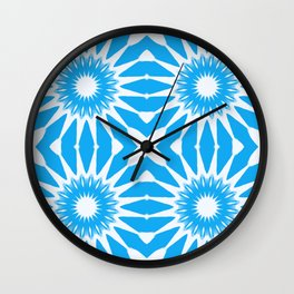 Sky Blue & White Pinwheel Flowers Wall Clock