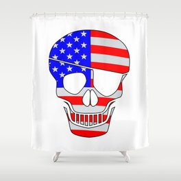Old Glory Skull Silhouette With Eye Patch Shower Curtain