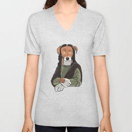 Dog Mona Lisa Fine Art Bark Beagle Dog Painting graphic Unisex V-Neck