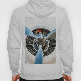 Legendary Vintage Aircraft Engine And Propeller On White Hoody
