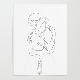 Lovers - Minimal Line Drawing Poster