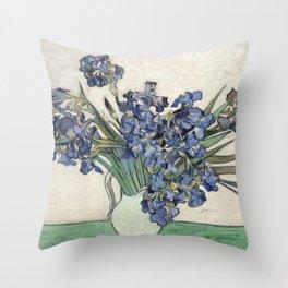 Vase with Irises Throw Pillow