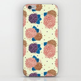 Watercolor coral brown blue hand painted floral polka dots iPhone Skin