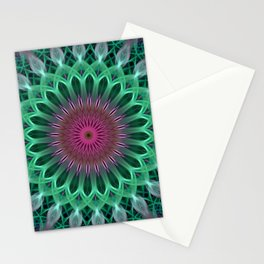 Green and red colors mandala Stationery Cards