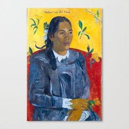 "Paul Gauguin ""Tahitian Woman with a Flower (Vahine no te tiare)"" Canvas Print"