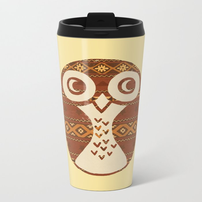 Navajo Owl  Metal Travel Mug
