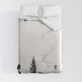 Backcountry Skier // Fresh Powder Snow Mountain Ski Landscape Black and White Photography Vibes Duvet Cover