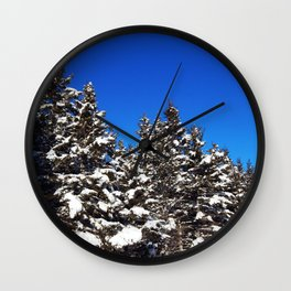 Winter Greens and Blue Sky Wall Clock