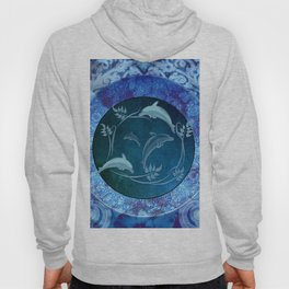 Funny dolphin with flowers Hoody