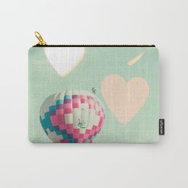 Hot air balloons nursery and heart bokeh on pale blue Carry-All Pouch