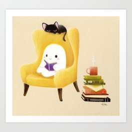 Ghost reading Art Print
