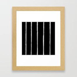 Skinny Strokes Gapped Vertical Off White on Black Framed Art Print