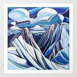 Downie and Boulder in Blue Art Print