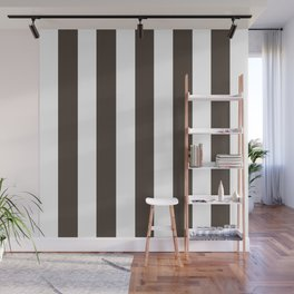 Dark lava brown - solid color - white vertical lines pattern Wall Mural