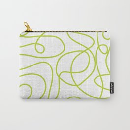 Doodle Line Art   Bright Lime Green Lines on White Carry-All Pouch