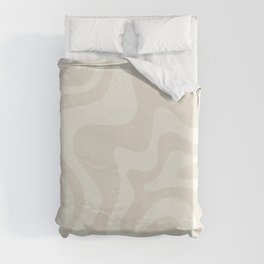 Liquid Swirl Contemporary Abstract Pattern in Barely-There Pale Beige and Light Cream  Duvet Cover