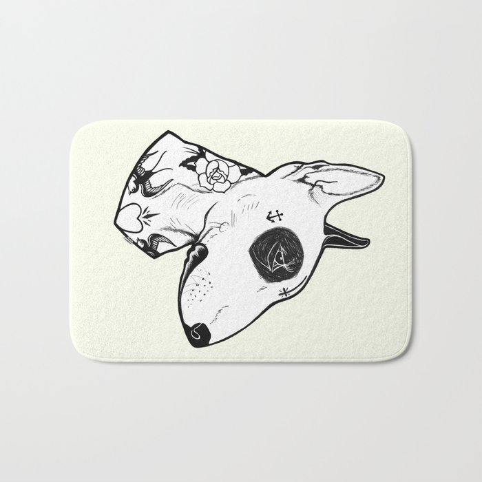 Bull Terrier dog Tattooed Bath Mat