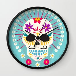 Dios De Los Muertos Day of the Dead Sugar Skull Fiesta Wall Clock