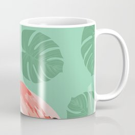 Flamingo on teal Coffee Mug