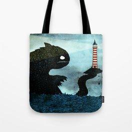 Lighthouse & Sea Monster Tote Bag